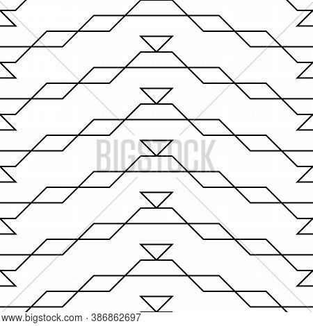 Seamless Surface Pattern Design With Black Parallelograms, Triangles And Trapezoids. Polygons Abstra