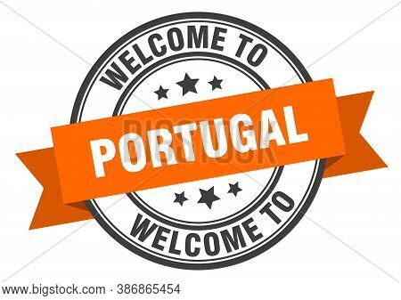Portugal Stamp. Welcome To Portugal Orange Sign