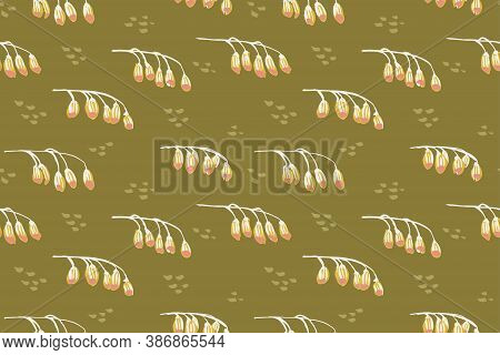 Breezy Horizontal Flower Branches Seamless Vector Pattern. Branches Of Droopy Flower Arranged Horizo