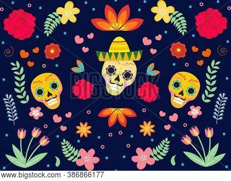 Day Of The Dead Mexican Seamless Pattern. Dia De Los Muertos Repeating Texture. Sugar Skull, Skeleto