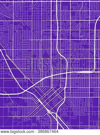 Detailed Map Of Fresno City California Administrative Area. Royalty Free Vector Illustration. Citysc