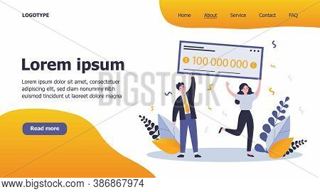 Happy Winners Holding Bank Check Flat Vector Illustration. Man And Woman Winning Jackpot For Million