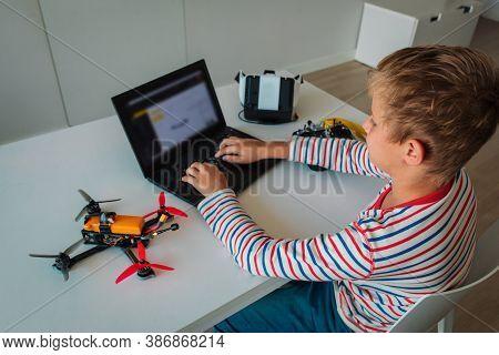 Boy Programming Drone, Stem Education. Learning Technology