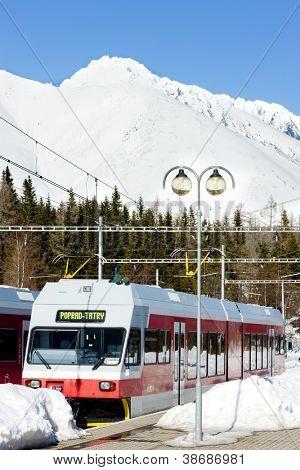 electric car at Strbske pleso station, Vysoke Tatry (High Tatras), Slovakia