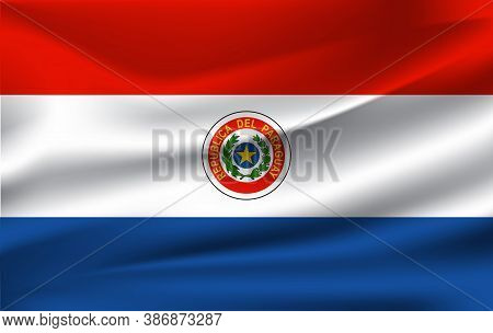 Realistic Waving Flag Of The Waving Flag Of Paraguay, High Resolution Fabric Textured Flowing Flag,v