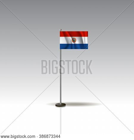 Desktop Flag Vector Image. National Paraguay Flag Isolated On Gray Background.