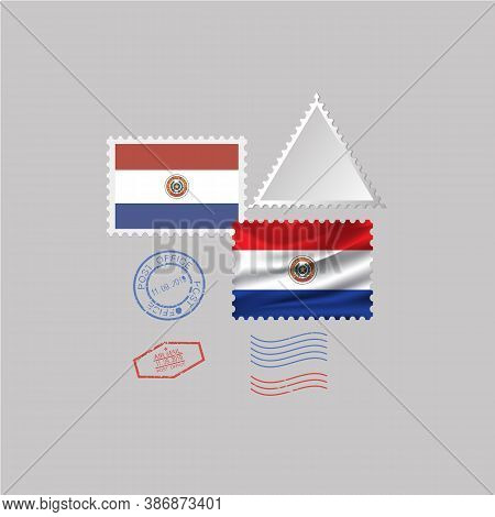 A Set Of Stamps With The Image Of The Flag Paraguay . Vector Illustration On Grey Background.
