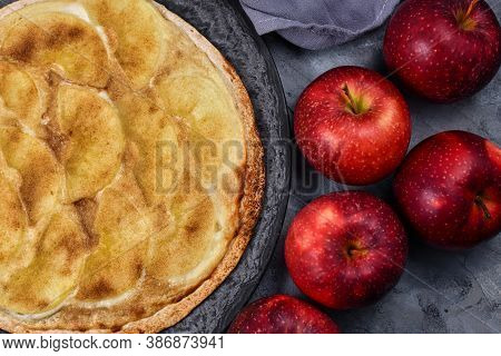 Sweet `tarte Flambee` From German-french Alsace Border Region, A Baked Pie Similar To A Thin Pizza T