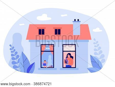 Woman And Baby In Windows Of Neighbor Apartments. Plant, Toy, House Flat Vector Illustration. Accomm