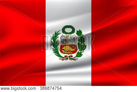 Realistic Waving Flag Of The Waving Flag Of Peru, High Resolution Fabric Textured Flowing Flag,vecto