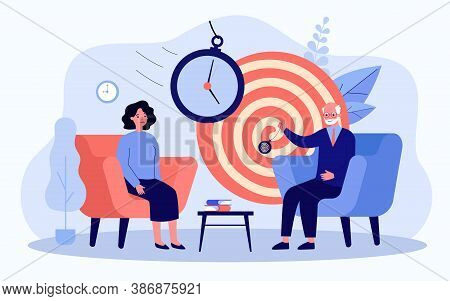 Woman Sitting On Session Of Hypnosis Therapy Isolated Flat Vector Illustration. Cartoon Psychologist