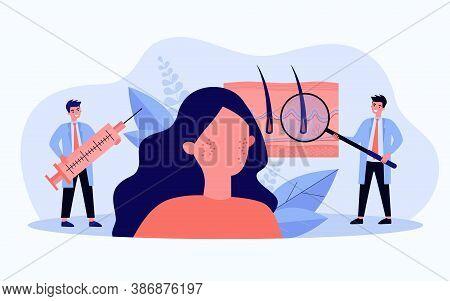 Tiny Dermatologists Curing Epidermis Illness Flat Vector Illustration. Cartoon Abstract Doctors Givi