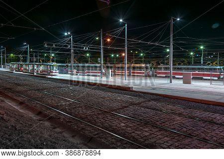 Brno, Czech Republic - September, 25. 2020: Tram Depot At Night. Tram Line. City Transport. Tramway