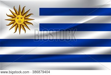 Realistic Waving Flag Of The Waving Flag Of Uruguay, High Resolution Fabric Textured Flowing Flag,ve