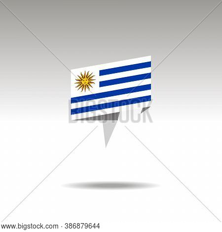 Uruguay Paper Flag 3d Realistic Speech Bubble On White Background