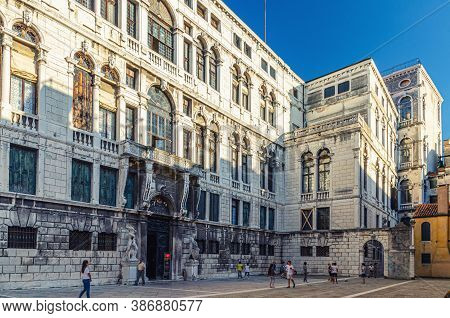 Venice, Italy, September 13, 2019: Campo Santo Stefano Square With Palazzo Pisani Palace And Conserv