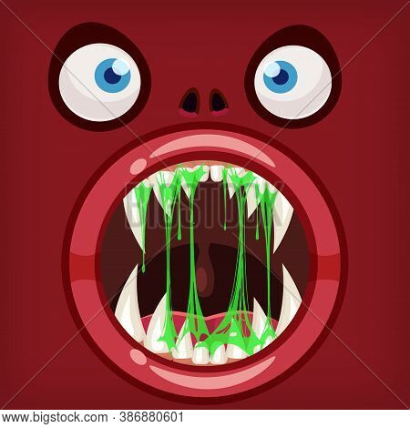 Horror Monster Open Mouth Creepy And Scary. Funny Jaws Teeths Drool Slime Creatures Expression Monst