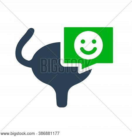 Urinary Bladder With Happy Face In Chat Bubble Colored Icon. Healthy Muscular Organ Of The Excretory