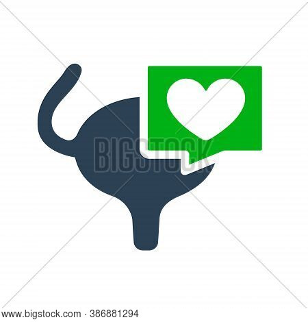 Urinary Bladder With Heart In Chat Bubble Colored Icon. Healthy Muscular Organ Of The Excretory Syst