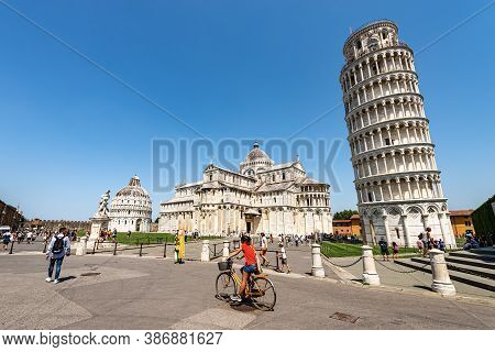 Pisa, Italy - July 29, 2020: Piazza Dei Miracoli (square Of Miracles) With The Leaning Tower, The Ca