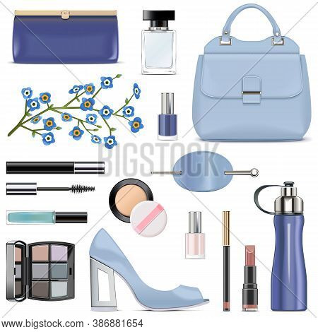 Vector Blue Female Accessories Isolated On White Background