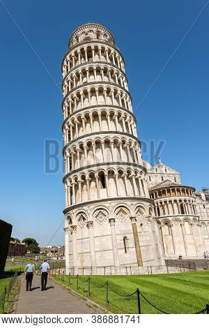Pisa, Italy - July 29, 2020: The Leaning Tower Of Pisa And The Cathedral (duomo Of Santa Maria Assun