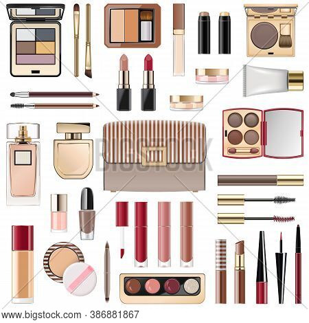 Vector Fall Makeup Collection Isolated On White Background