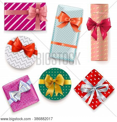Vector Patterned Gift Boxes Isolated On White Background