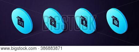 Set Isometric Avi File Document, Ogg, Gif And Mp4 Icon. Vector