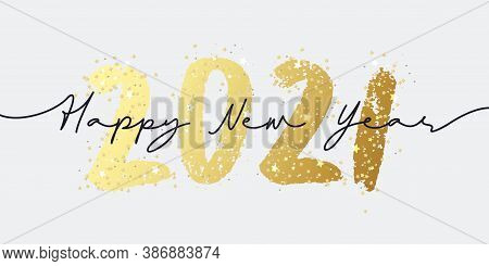 Happy New Year 2021 Brush Painted Calligraphy Numbers With Sparkles And Glitter. Vector Illustration