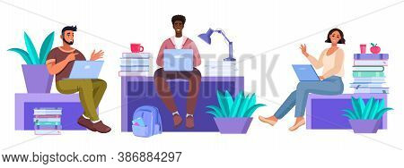 Vector Education Illustration With Diverse Sitting Students With Laptops Studying In Internet, Books