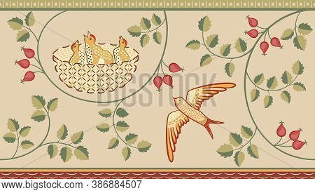 Floral And Birds Decorative Border Pattern On Light Background. Middle Ages Style. Vector Illustrati