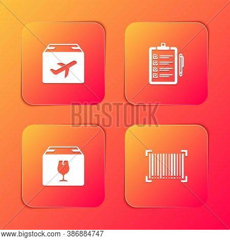 Set Plane And Cardboard Box, Verification Of Delivery List, Delivery With Fragile Content And Barcod
