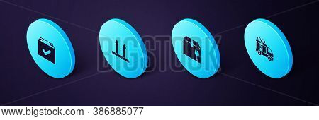 Set Isometric Delivery Truck With Gift, Box Fragile Content, This Side Up And Package Check Mark Ico