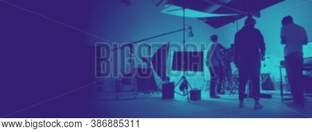 Blurry Images Two Tone High Contrast Style Of Behind The Scene Of Photo Shooting Production