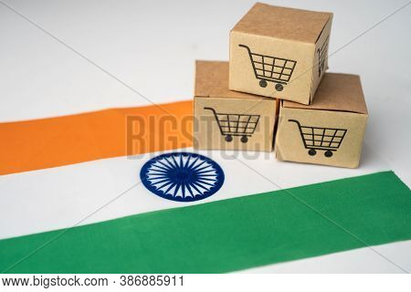 Box With Shopping Cart Logo And India Flag, Import Export Shopping Online Or Ecommerce Finance Deliv