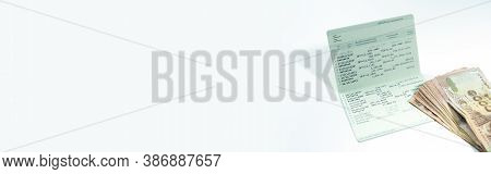 Active Income Saving And Invest With Money And Passbook On White Isolated Background