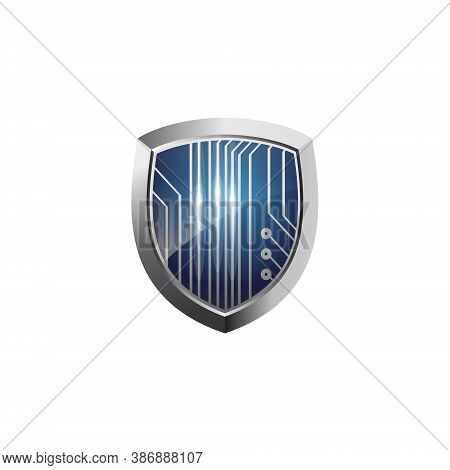 Tech Shield Logo - Emblem Guard Protect Defense Safe Arms Safety Secure Armor Privacy Abstract Firew