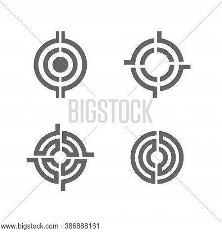 Target Logo Set Collection - Success Center Dart Accuracy Winner Dartboard Aim Hit Focus Game Aiming
