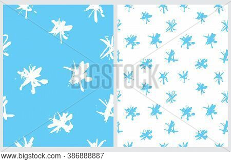 Cute Abstract Spots Vector Pattern. White And Blue Irregular Brush Spots On A White And Blue Backgro