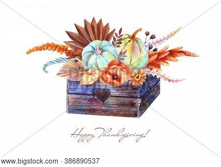Watercolor Rustic Fall Floral Blue Pumpkins Bouquet In Wooden Pallet. Thanksgiving Decor, Autumn Ter