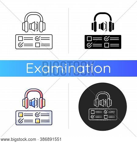 Listening Examination Icon. Comprehension Practice Tests. School And University Education. Improve L