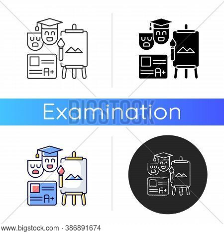 Creative Certification Exam Icon. Art And Theatrical Education Degree. Drawing Skills. School And Ac