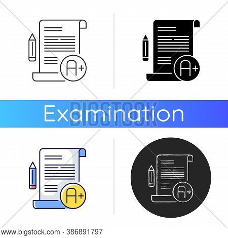 Essay Examination Icon. Succesful Result. Comprehensive Exam. Highest Grade. Pencil And Paper. Writi