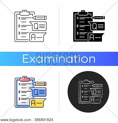 Short Answer Test Icon. Exam Paper With Answers. Education And Examination. Questioning For Student.