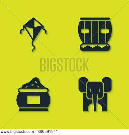 Set Kite, Elephant, Indian And Instrument Tabla Icon. Vector