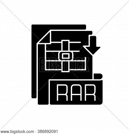 Rar File Black Glyph Icon. Archive File Format. Data Compression. Error Recovery. File Spanning. Arc