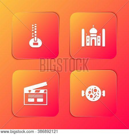 Set Sitar, Taj Mahal, Bollywood Indian Cinema And Chicken Tikka Masala Icon. Vector