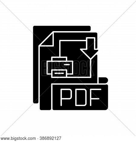 Pdf File Black Glyph Icon. Portable Document Format. Text Formatting And Images, Multimedia Elements
