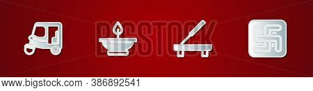 Set Taxi Tuk Tuk, Aroma Lamp, Scented Spa Stick And Hindu Swastika Icon. Vector